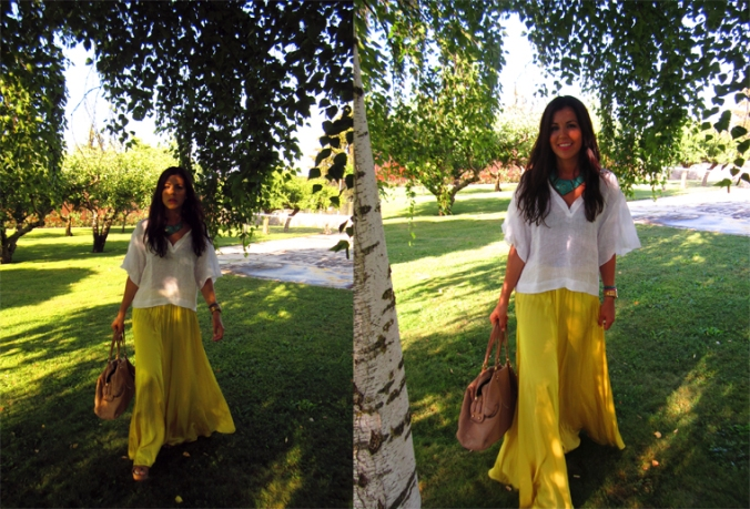 long skirt yellow zara